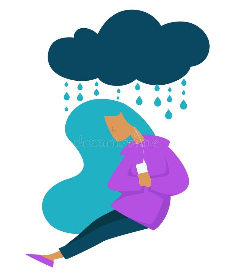 Depresja nastoletniego stresu smutna trybowa dziewczyna słucha muzyka ilustracji