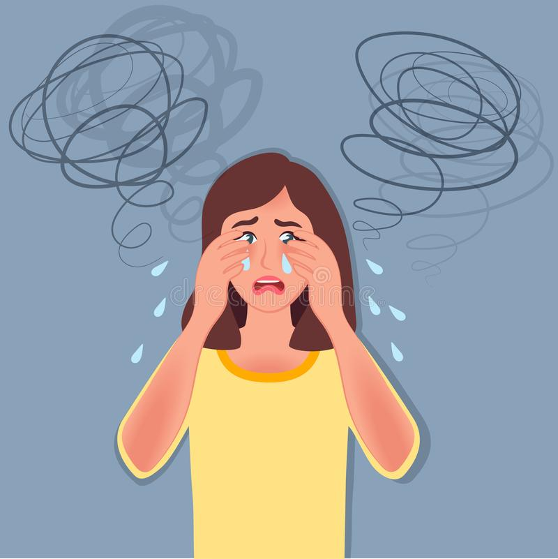 Depresja Płacze i straszył Kłopot, psychologiczni nieład Wektorowa ilustracja emocja royalty ilustracja