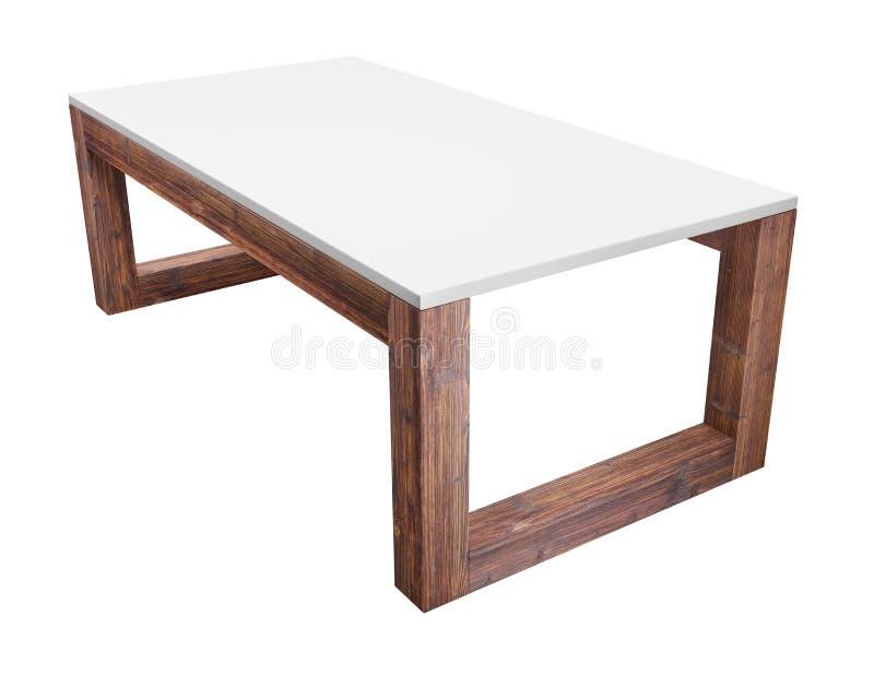 Depresja stół odizolowywający na bielu z ścinek ścieżką zawierać 3d renderingu wizerunek ilustracja wektor