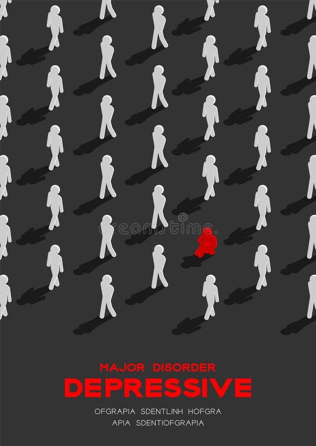 Depresja ważny depressive nieład, MDD mężczyzna piktograma 3d isometric wzór, Medyczny choroby pojęcia plakat i sztandar pionowo, ilustracja wektor