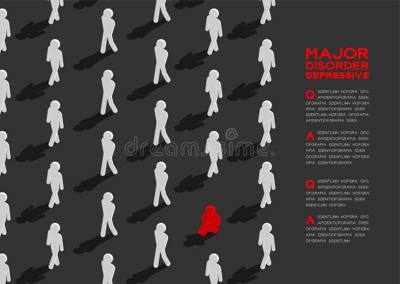 Depresja ważny depressive nieład, MDD mężczyzna piktograma 3d isometric wzór, Medyczny choroby pojęcia plakat i sztandar, royalty ilustracja