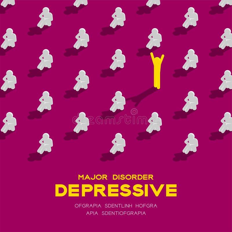 Depresja ważny depressive nieład, MDD mężczyzna piktograma 3d isometric wzór, Medyczny choroby pojęcia plakat i sztandar, obciosu ilustracja wektor