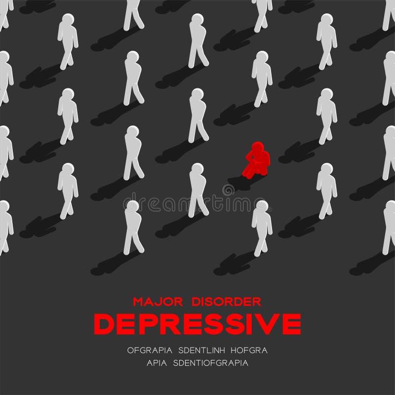 Depresja ważny depressive nieład, MDD mężczyzna piktograma 3d isometric wzór, Medyczny choroby pojęcia plakat i sztandar, obciosu royalty ilustracja