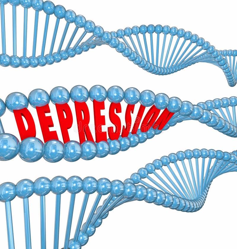 Depresji choroby choroby psychicznej słowa DNA pasemka Dziedziczny Gen ilustracji