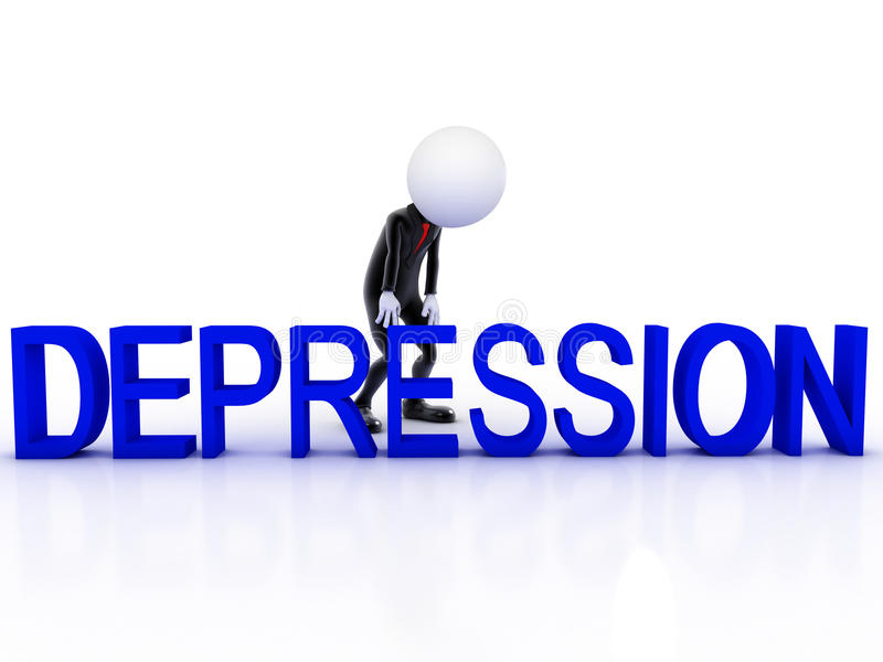 Depresji 3d mężczyzna smutny royalty ilustracja