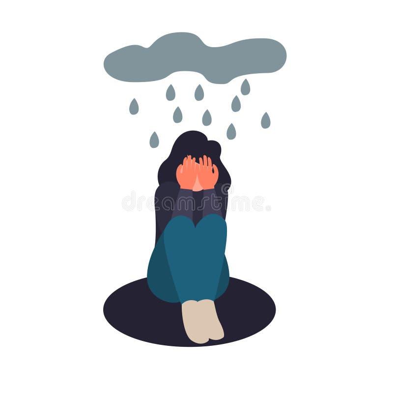 Depresji kobieta siedzi na podłodze Przygnębiony dziewczyna płacz zakrywa jej twarz z ona ręki Smutny żeński płaski charakter ilustracji
