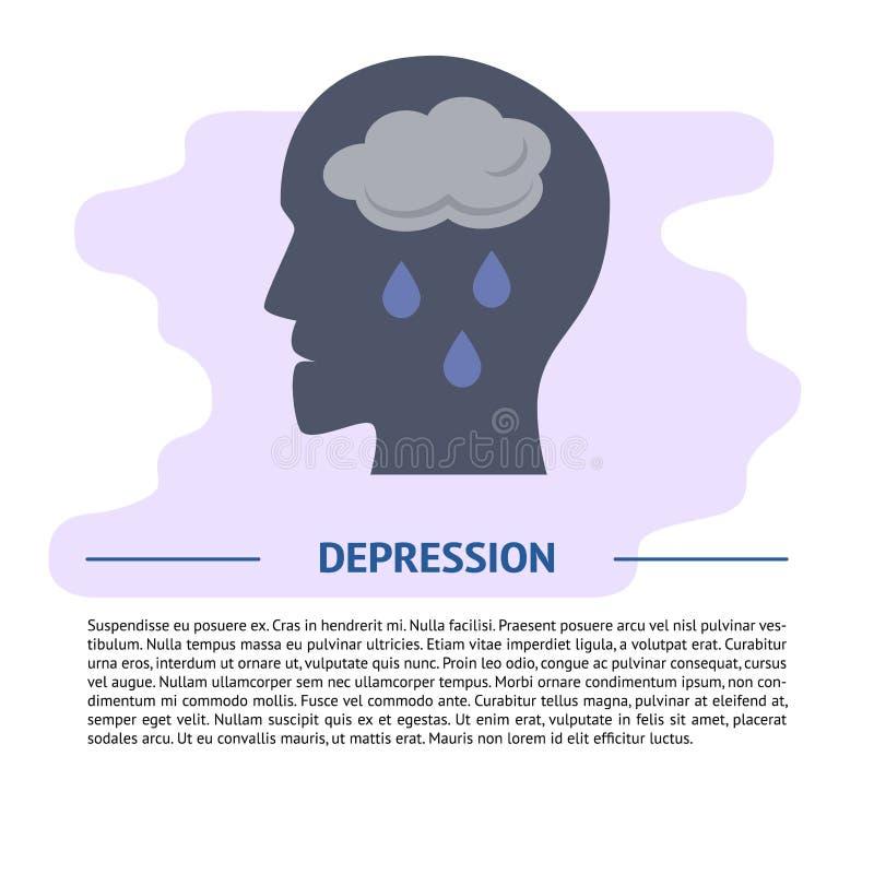 Depresji pojęcia ilustracja w mieszkanie stylu z tekstem ilustracji