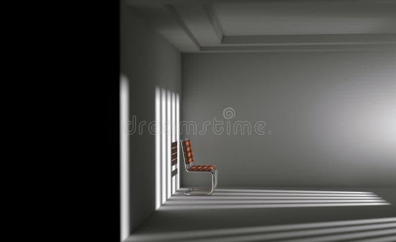 Depresji pojęcie, abstrakta 3d samotny krzesło w wnętrza pustym ro ilustracji