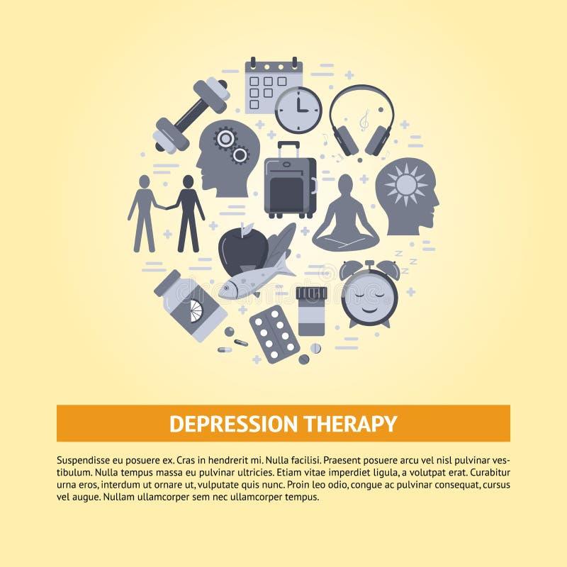 Depresji traktowania sztandaru szablon w mieszkanie stylu ilustracja wektor