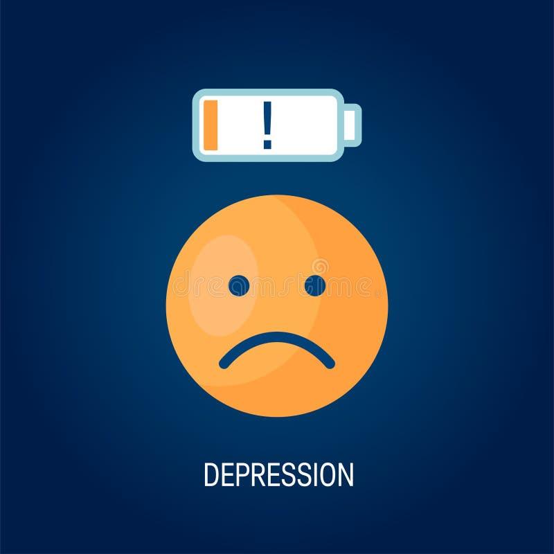 Depresji wektorowy pojęcie w prostym mieszkanie stylu ilustracji