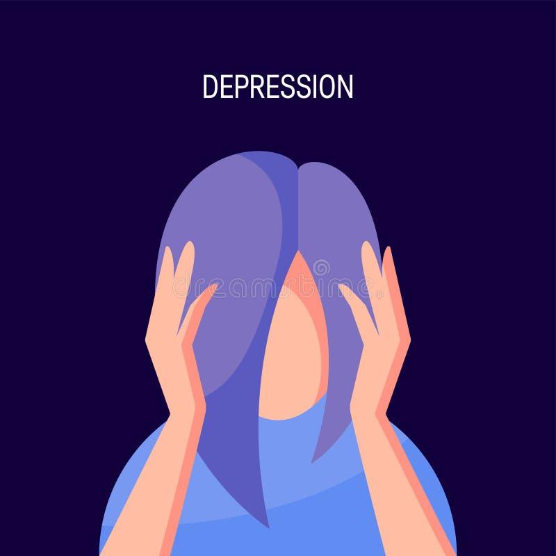 Depresji wektorowy pojęcie w prostym mieszkanie stylu ilustracja wektor