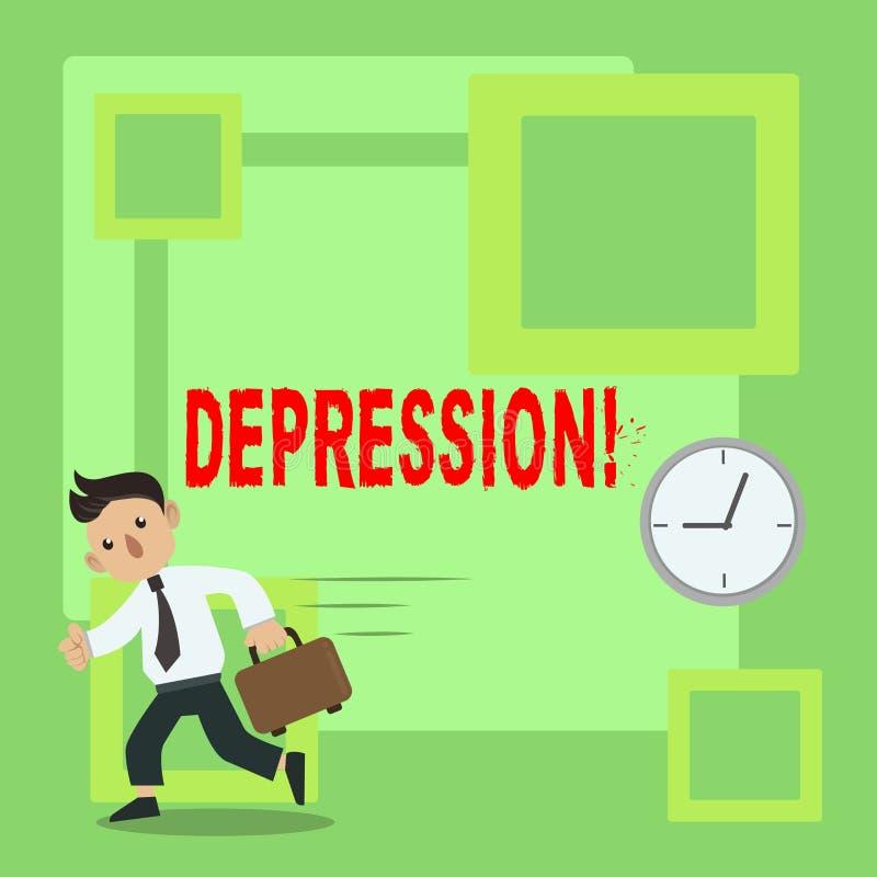 Depressão do texto da escrita Conceito que significa o esforço de trabalho com as noites sem sono que têm a perturbação da ansied ilustração do vetor