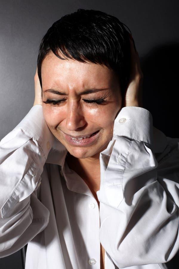 Depressão, mulher da dor de cabeça foto de stock
