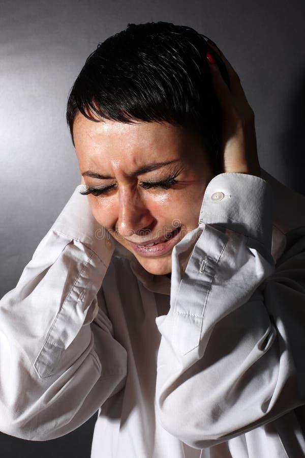 Depressão, mulher da dor de cabeça imagens de stock royalty free