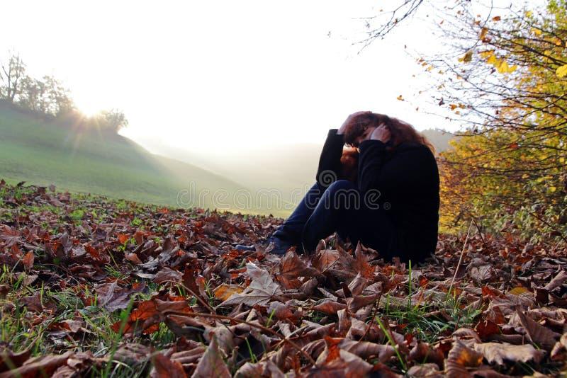 Depressão no outono imagens de stock