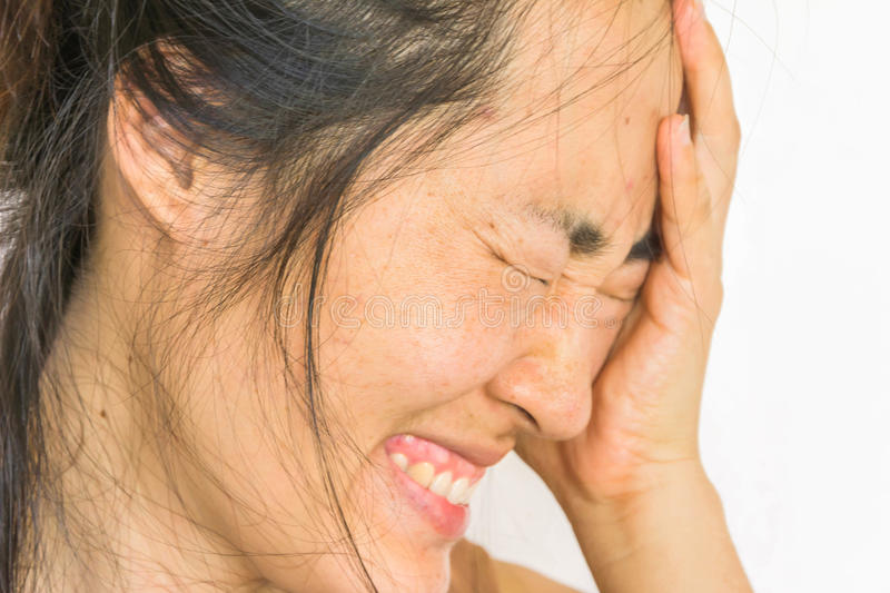 Depress and fear woman. 's face royalty free stock photos
