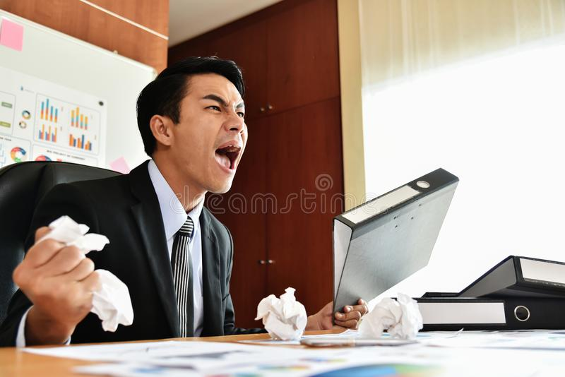 Businessman is yelling. royalty free stock image