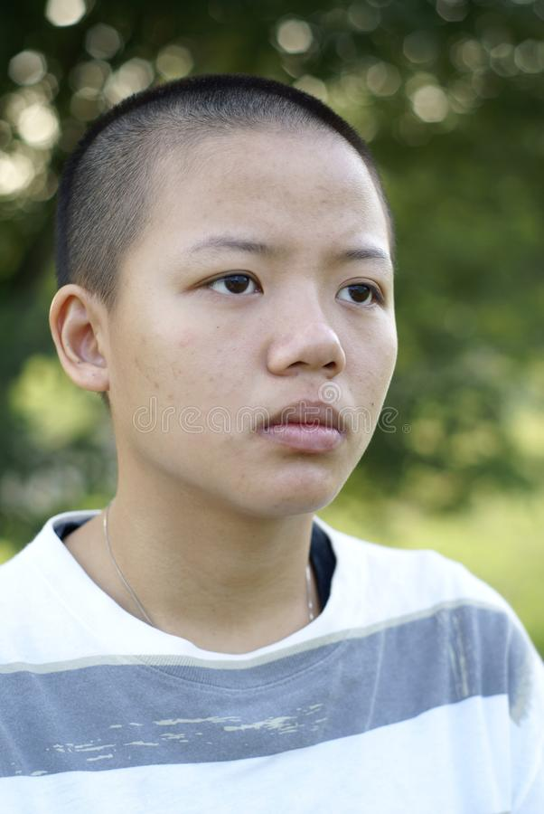 Download Depressed Bald Asian Teen Girl Stock Image - Image: 19061581