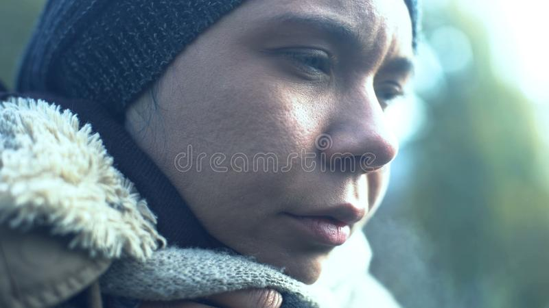 Depressed beggar face closeup, addicted homeless person, poverty problem despair royalty free stock image