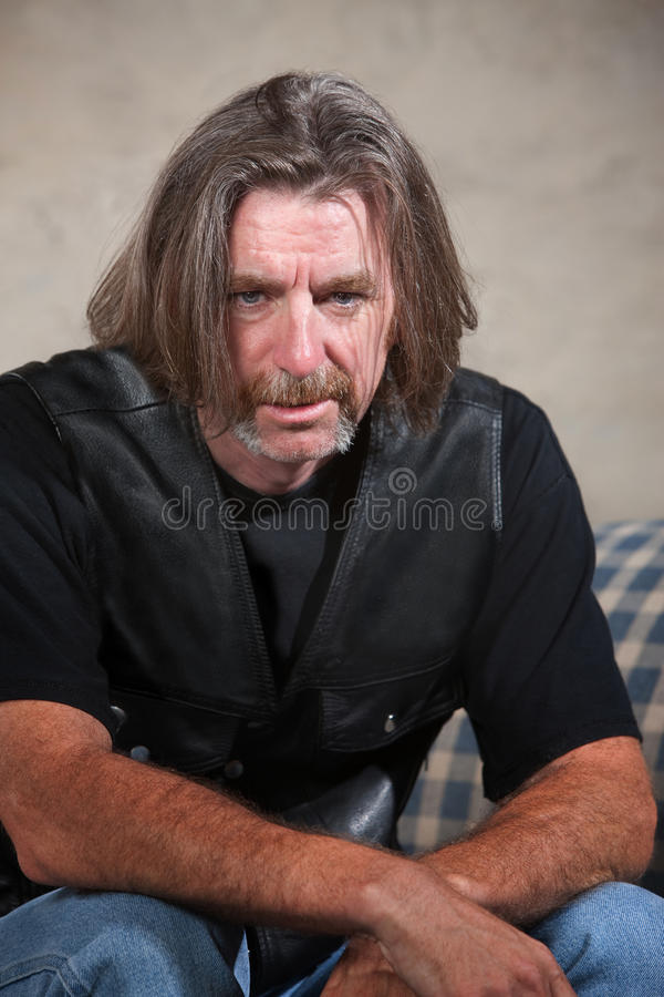 Depressed Biker Gang Member stock photography