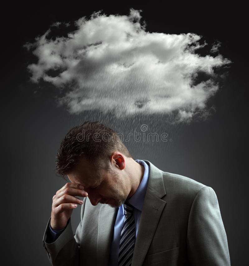 Depressed businesman stock image