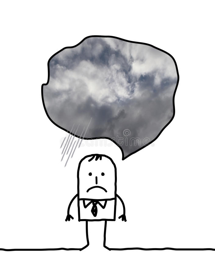 Depressed cartoon man thinking about cloudy weather royalty free illustration