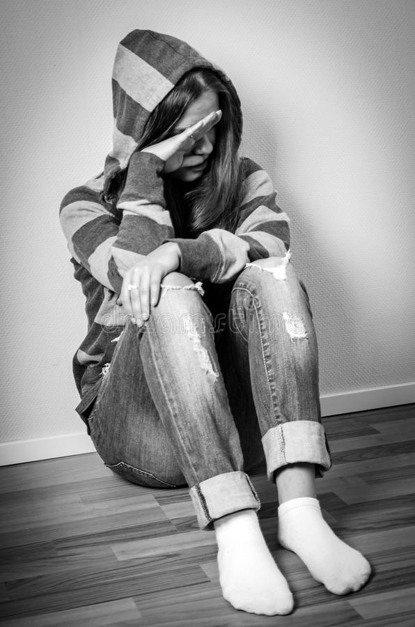Depressed girl crying stock image. Image of alone, emotion ...