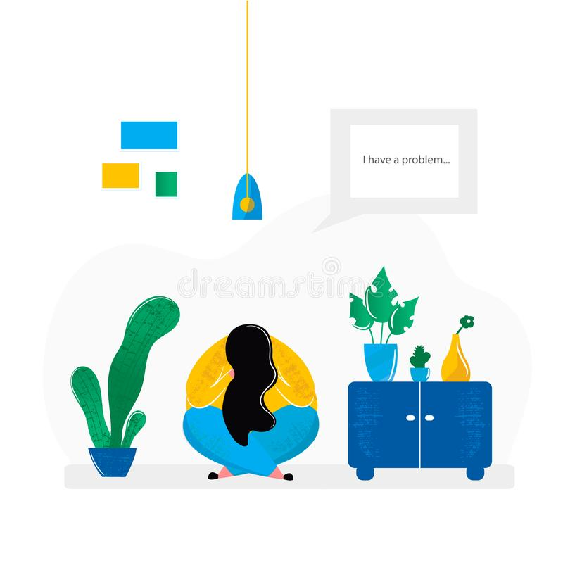 Depressed girl sitting on floor in room at home. Mental health problems of sad woman and treatment of depression psychological help. Vector illustration in vector illustration