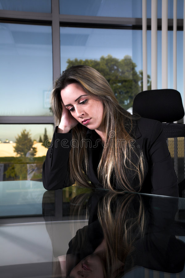 Download Depressed at her desk stock photo. Image of health, posture - 3035184