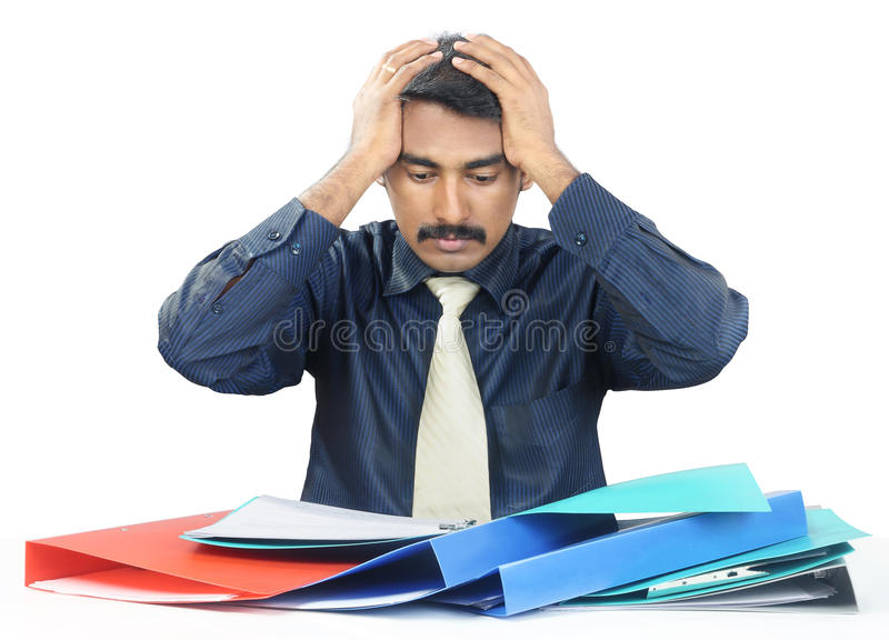 Depressed Indian Businessman royalty free stock photos