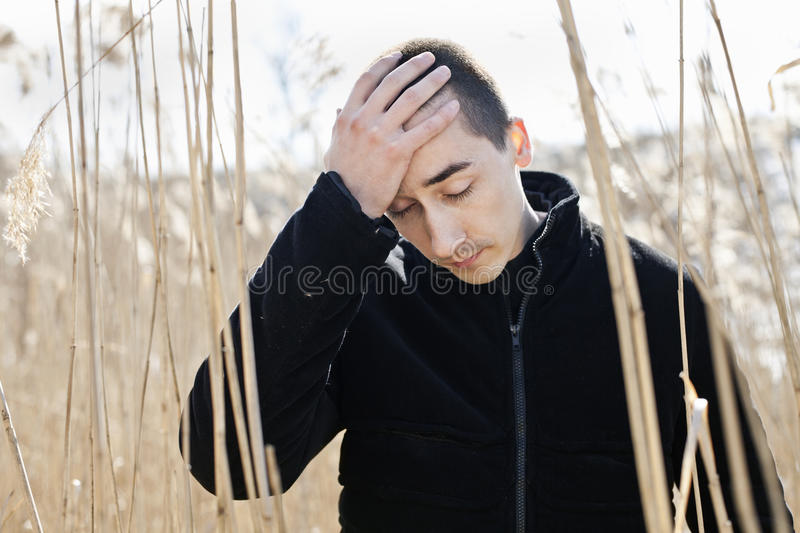 Download Depressed man stock image. Image of concept, reeds, headache - 19756849