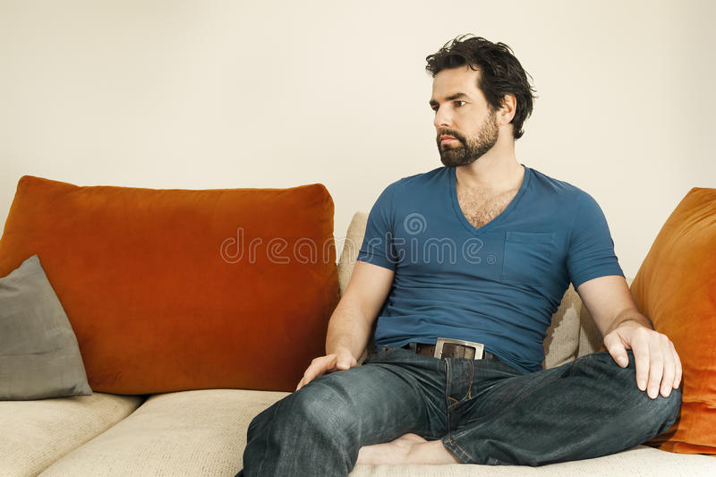 Download Depressed man with beard stock image. Image of sadness - 25080739
