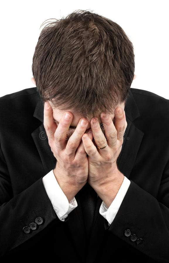 Download Depressed Man Covering His Face By Hands Stock Photo - Image: 22990778