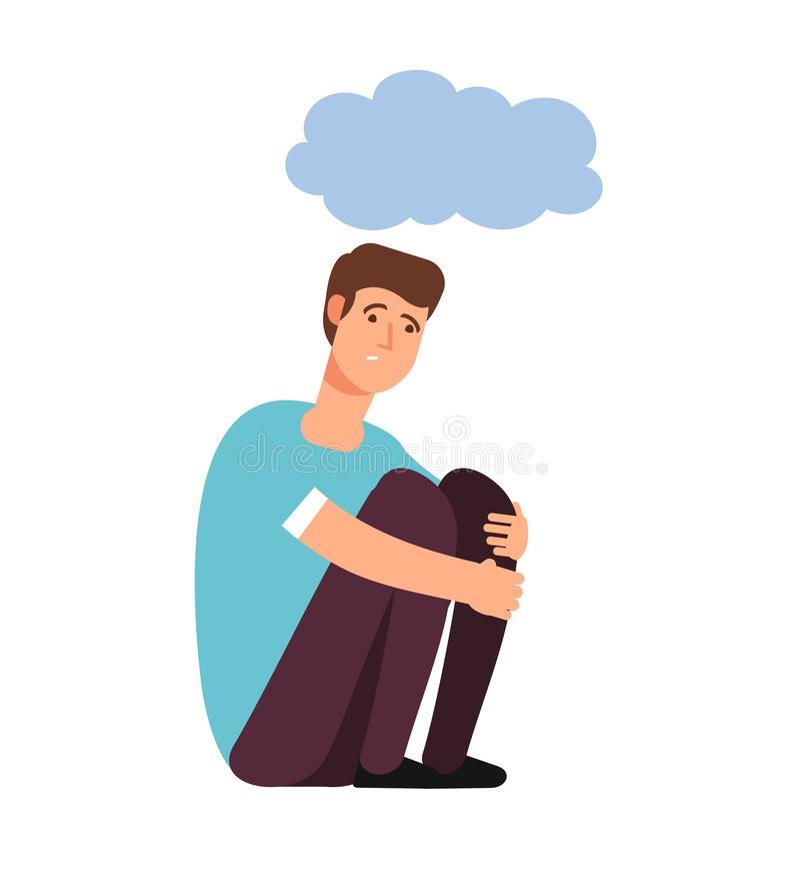 Depressed man. Depression concept homeless upset ashamed afraid lonely person sadness shame gloomy guy cartoon vector stock illustration