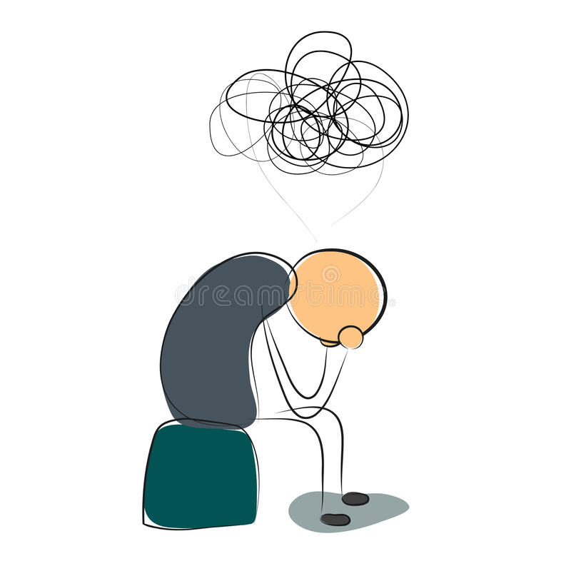Depressed man with many thoughts. Vector illustration. Drawing. Sitting depressed man with many thoughts royalty free illustration