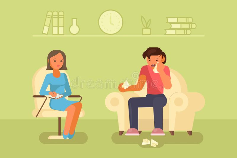 Depressed man and psychologist vector flat design stock illustration
