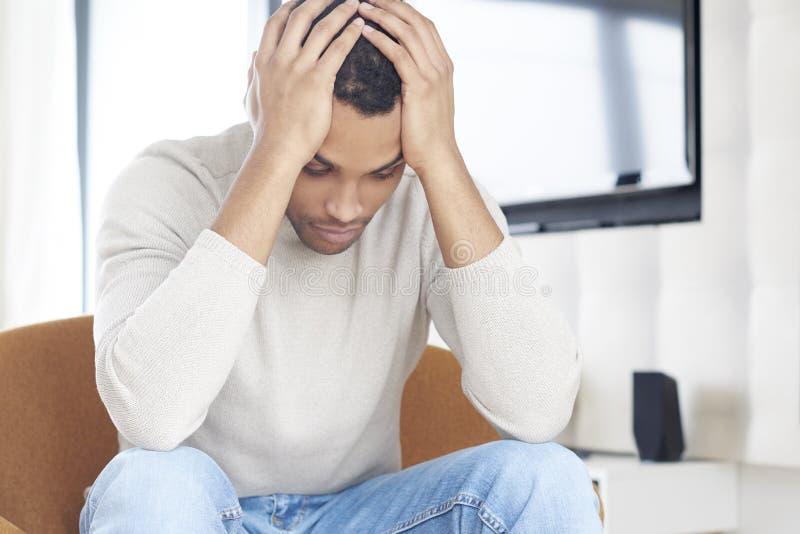 Depressed man stock image