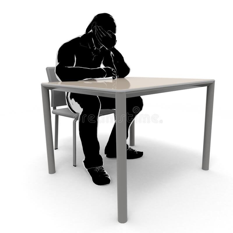 A depressed man. A worried person. Thinking person. 3D illustration stock illustration