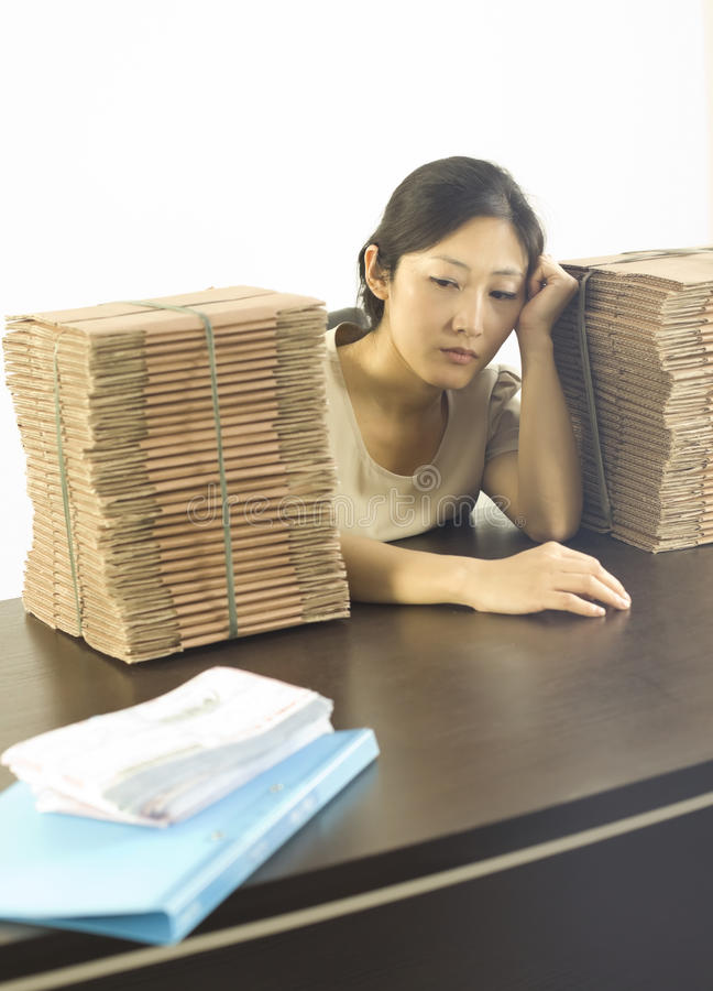 A depressed miss staff in office stock photography