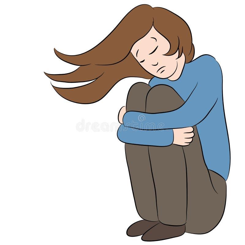 Depressed sad woman stock vector illustration of cartoon - Cartoon girl sitting alone ...