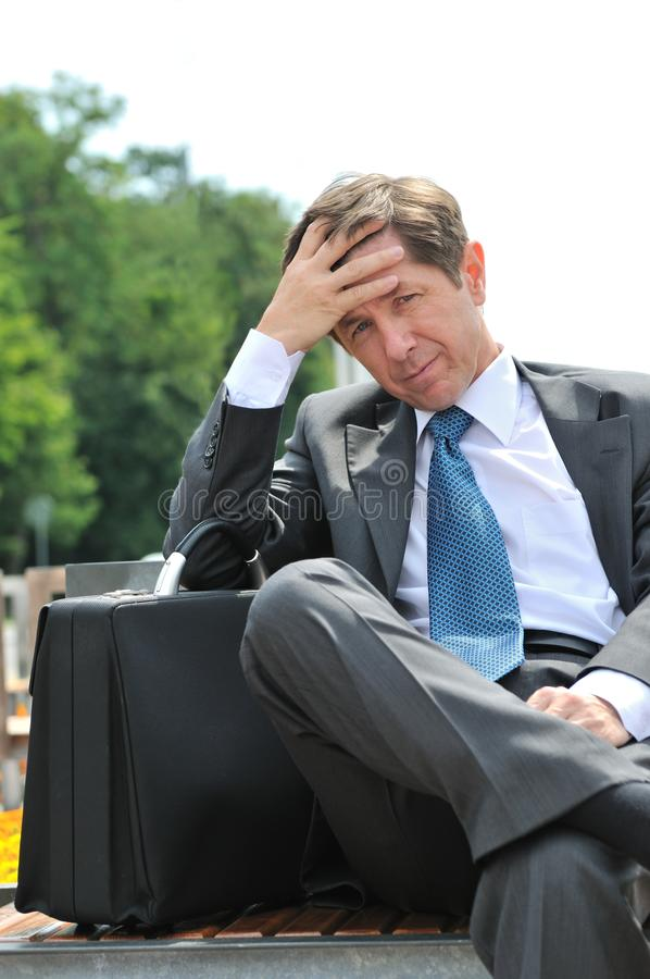 Depressed senior business man portrait royalty free stock photos