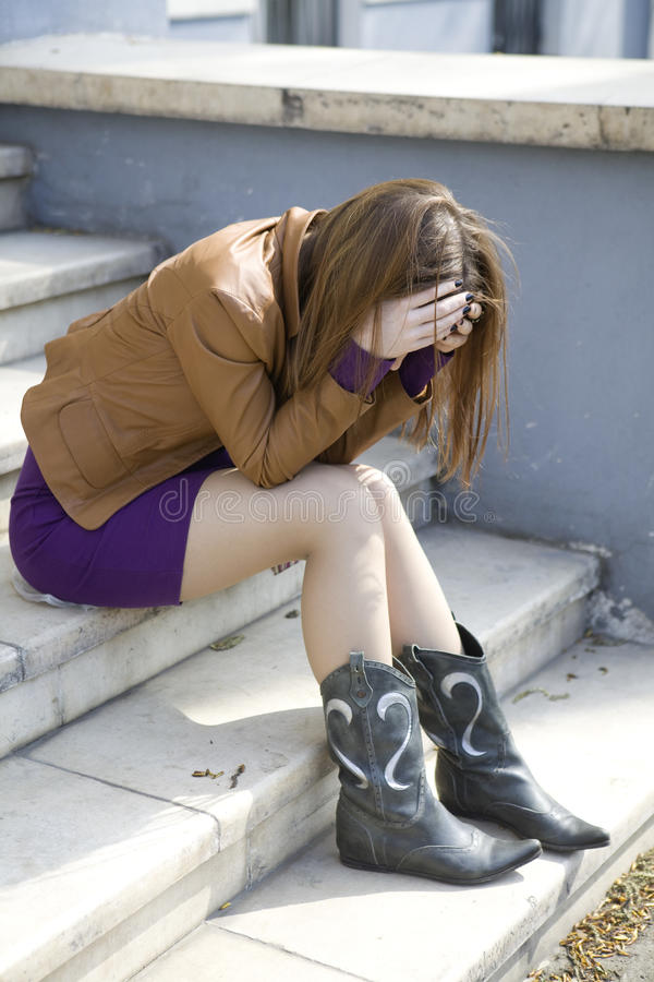 Download Depressed teen girl stock image. Image of gorgeous, complexion - 14031075