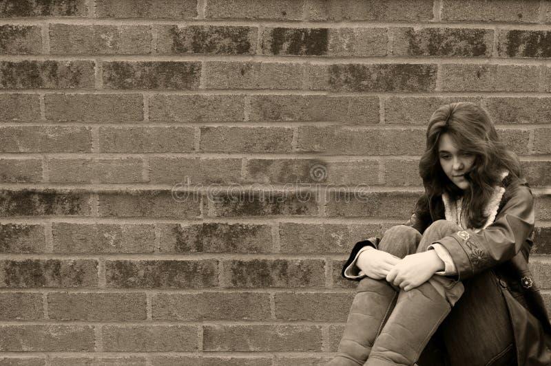 Depressed Teen Girl Homeless Royalty Free Stock Photo
