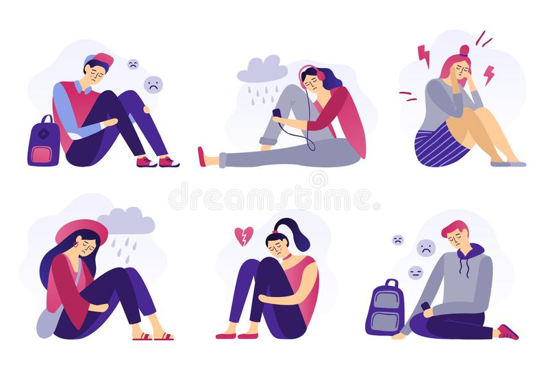 Depressed teenagers. Sadness student, unhappy stressed teen sad boy and crying girl. School stress isolated flat vector royalty free illustration