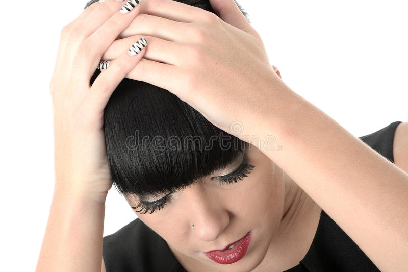 Depressed Thoughtful Concerned Woman stock image