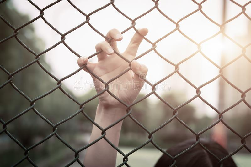 Depressed, trouble, help and chance. Hopeless women raise hand on chain-link fence ask for help royalty free stock images