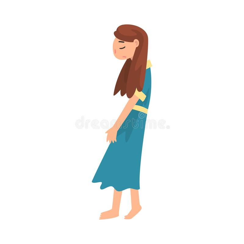 Depressed Unhappy Girl, Stressed Teenager, Lonely, Anxious, Abused Girl Vector Illustration stock illustration