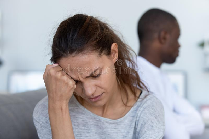 Depressed upset wife feeling offended after fight with stubborn husband royalty free stock photography