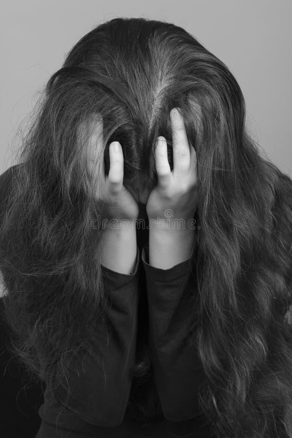 Download Depressed woman stock photo. Image of black, hair, help - 22396834