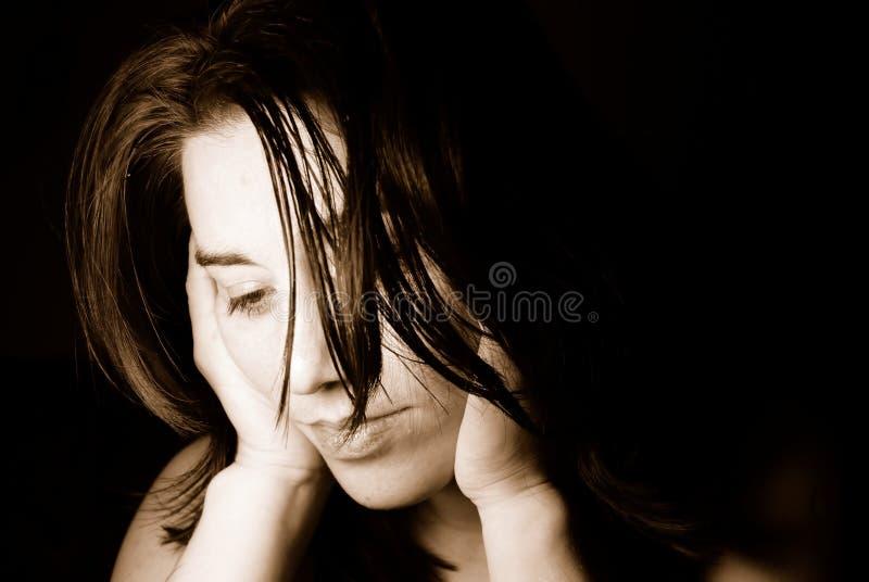 Depressed woman stock image